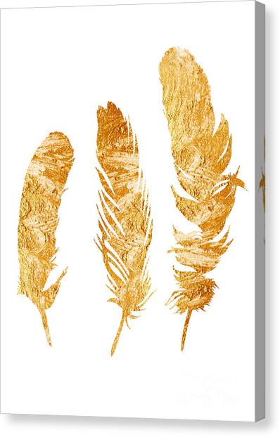 Watercolor Canvas Print - Gold Feathers Watercolor Painting by Joanna Szmerdt