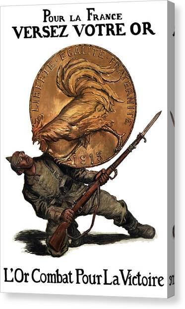 Coins Canvas Print - Gold Fights For Victory by War Is Hell Store