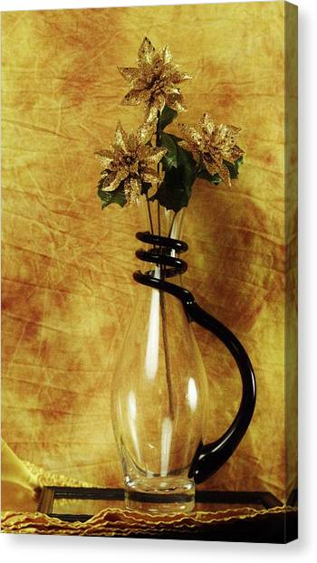 Gold Flowers In Vase Canvas Print