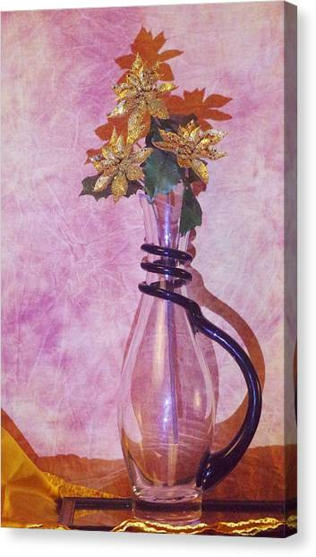 Gold Flowers Pink Background Canvas Print