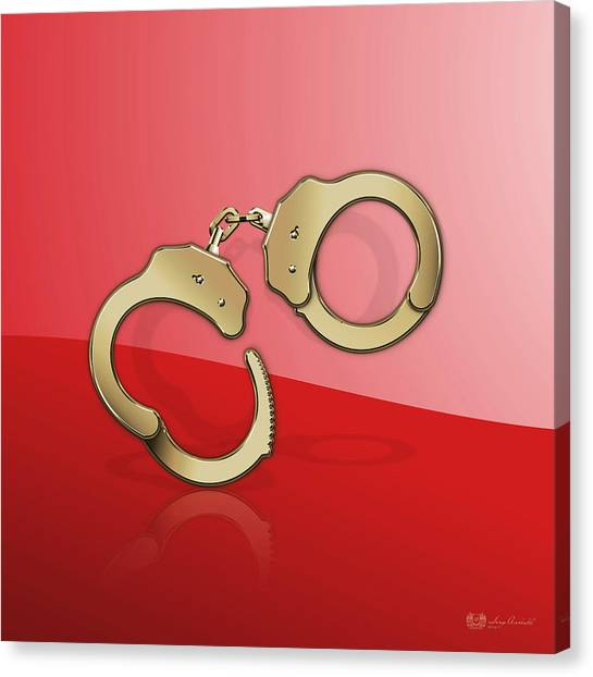 Law Enforcement Canvas Print - Gold Handcuffs On Red by Serge Averbukh