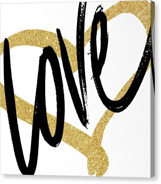 Gold Canvas Print - Gold Heart Black Script Love by South Social Studio