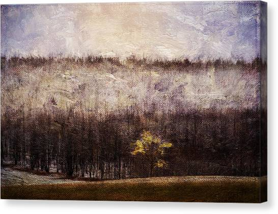 Gold Leafed Tree In Snow Canvas Print