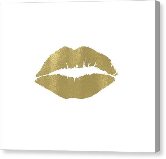 Love Canvas Print - Gold Lips Kiss by P S