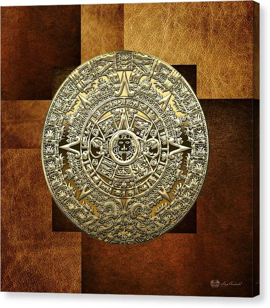 Gold Mayan-aztec Calendar On Brown Leather Canvas Print