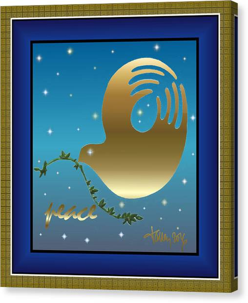 Gold Peace Dove Canvas Print