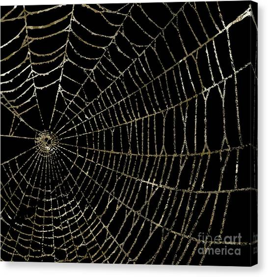Spider Web Canvas Print - Gold Spider Web Fashion Halloween by Mindy Sommers