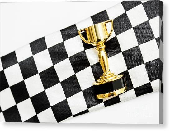 Thoroughbreds Canvas Print - Gold Trophy On A Checked Sport Flag by Jorgo Photography - Wall Art Gallery