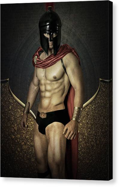 Bodybuilder Canvas Print - Gold Wall by Mark Ashkenazi