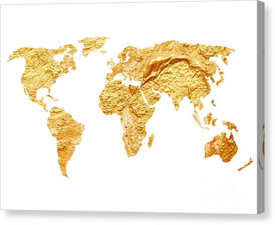 Map Canvas Print - Gold World Map Watercolor Painting by Joanna Szmerdt