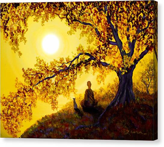 Buddhist Canvas Print - Golden Afternoon Meditation by Laura Iverson