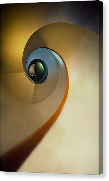 Golden And Brown Spiral Staircase Canvas Print