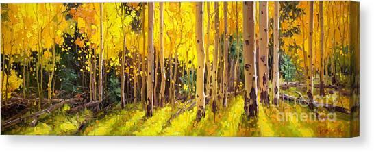 Art In America Canvas Print - Golden Aspen In The Light by Gary Kim