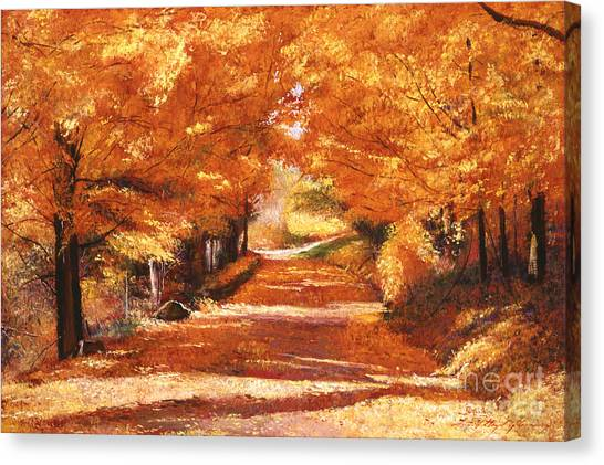 Acrylic On Canvas Print - Golden Autumn by David Lloyd Glover