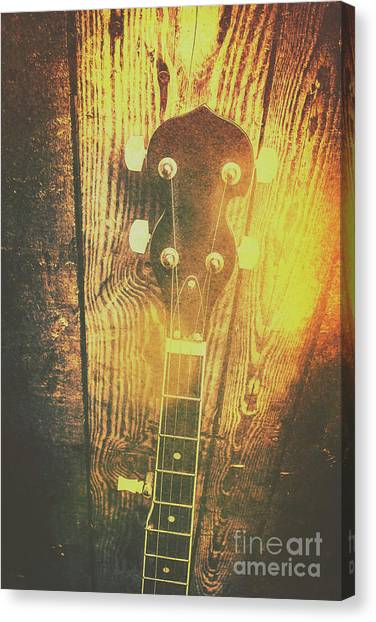 Stringed Instruments Canvas Print - Golden Banjo Neck In Retro Folk Style by Jorgo Photography - Wall Art Gallery