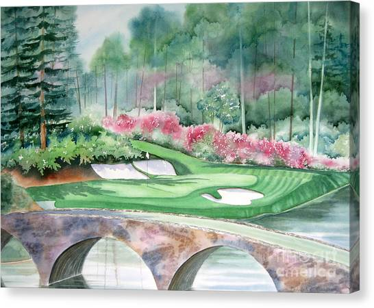 Jack Nicklaus Canvas Print - Golden Bell-12th Hole by Deborah Ronglien