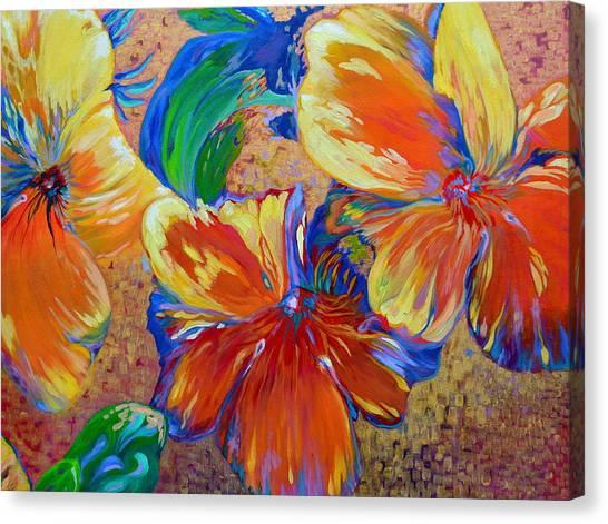 Golden Boiled Flowers Canvas Print