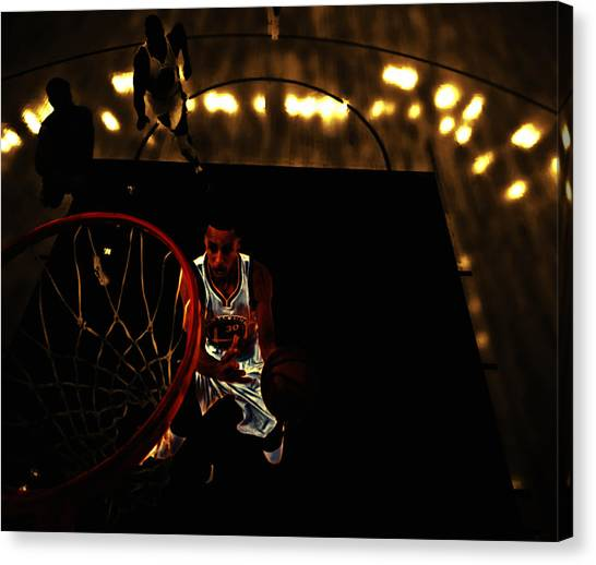 Three Pointer Canvas Print - Golden Boy Stephen Curry by Brian Reaves