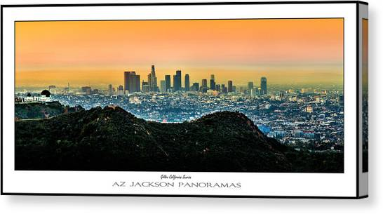 Los Angeles Skyline Canvas Print - Golden California Sunrise Poster Print by Az Jackson