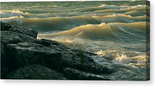 Golden Capped Sunset Waves Of Lake Michigan Canvas Print