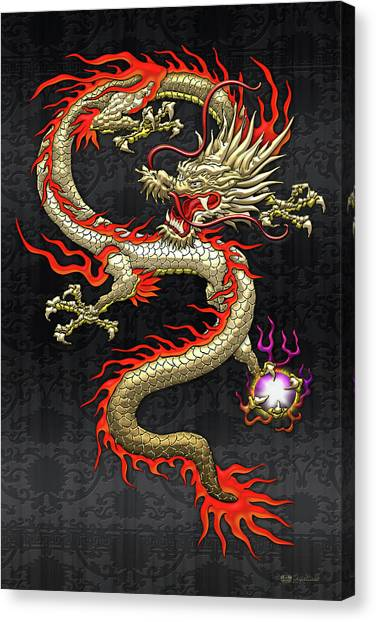 Golden Chinese Dragon Fucanglong On Black Silk Canvas Print