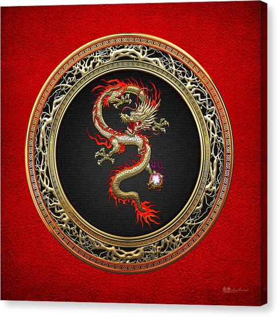 God Canvas Print - Golden Chinese Dragon Fucanglong On Red Leather  by Serge Averbukh