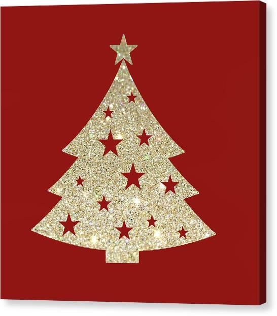 Christmas Tree Canvas Print - Golden Christmas Tree by Art Spectrum