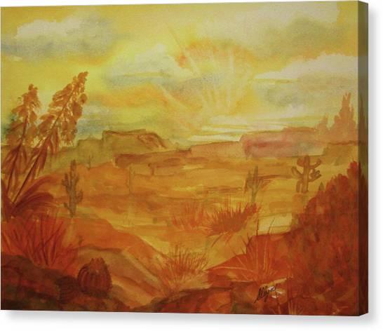 Desert Sunrises Canvas Print - Golden Dawn by Ellen Levinson