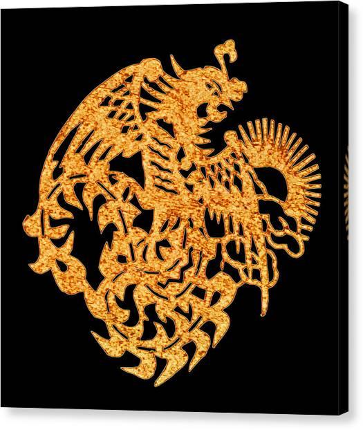 Papercut Canvas Print - Golden Dragon by Stephanie Grant