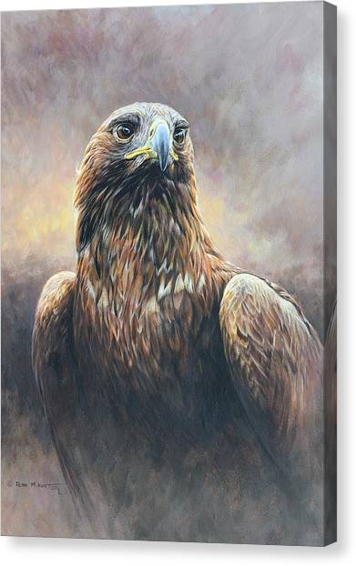 Canvas Print featuring the painting Golden Eagle Portrait by Alan M Hunt