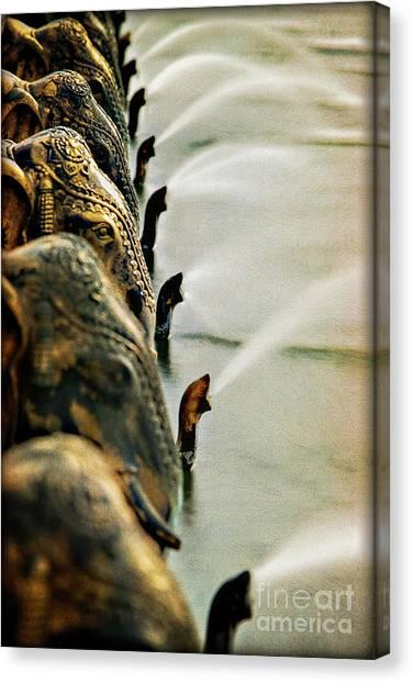 Golden Elephant Fountain Canvas Print