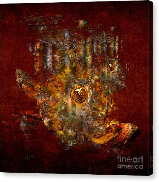 Canvas Print featuring the digital art Golden Fish In The Lake by Alexa Szlavics