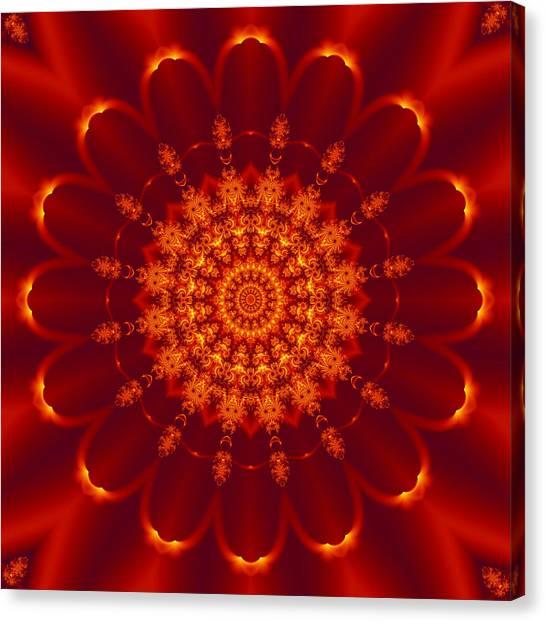 Golden Fractal Mandala Daisy Canvas Print
