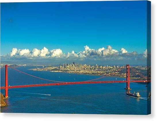 Bay Bridge Canvas Print - Golden Gate And The City by Bill Gallagher