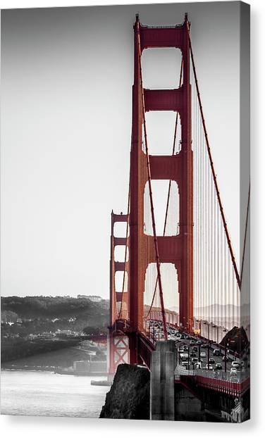 Golden Gate Black And Red Canvas Print
