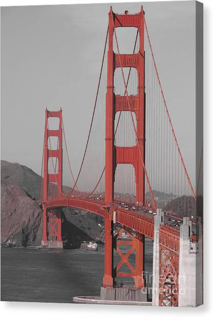 Golden Gate Black And White Canvas Print by Jeff White