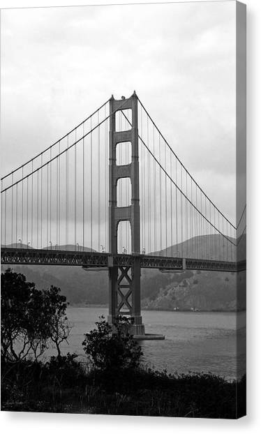 Golden Gate Canvas Print - Golden Gate Bridge- Black And White Photography By Linda Woods by Linda Woods