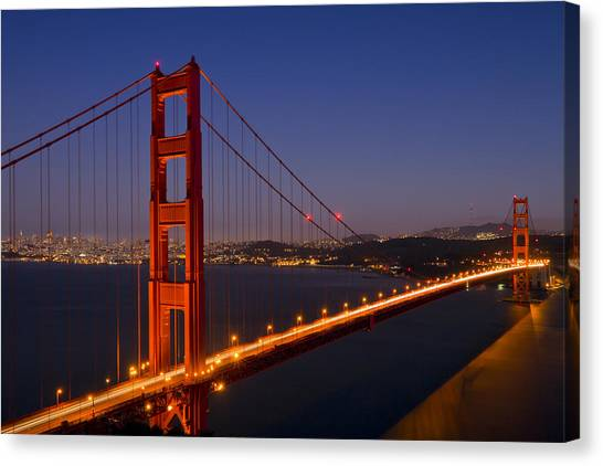 Horizons Canvas Print - Golden Gate Bridge At Night by Melanie Viola