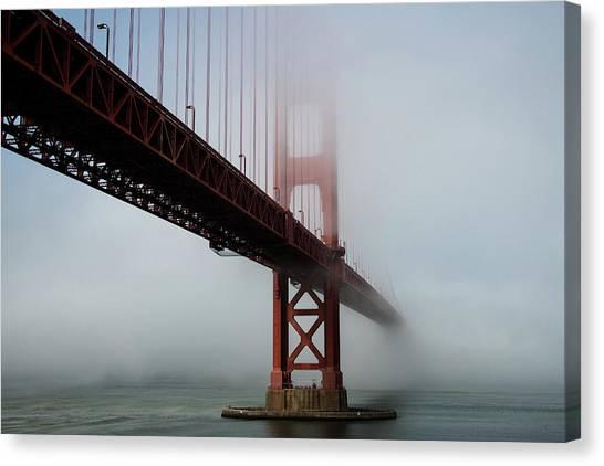 Canvas Print featuring the photograph Golden Gate Bridge Fog 2 by Stephen Holst