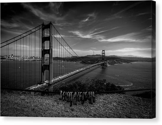 Golden Gate Bridge Locks Of Love Canvas Print
