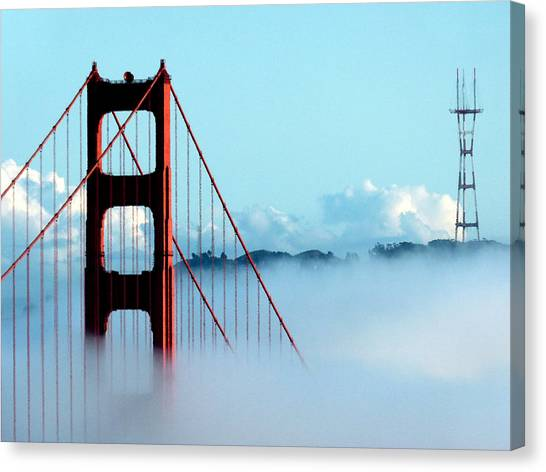 Golden Gate Bridge Tower Fog Antenna Canvas Print