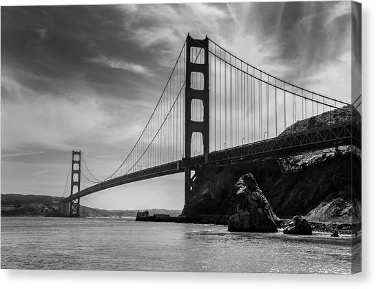 Golden Gate East Bw Canvas Print