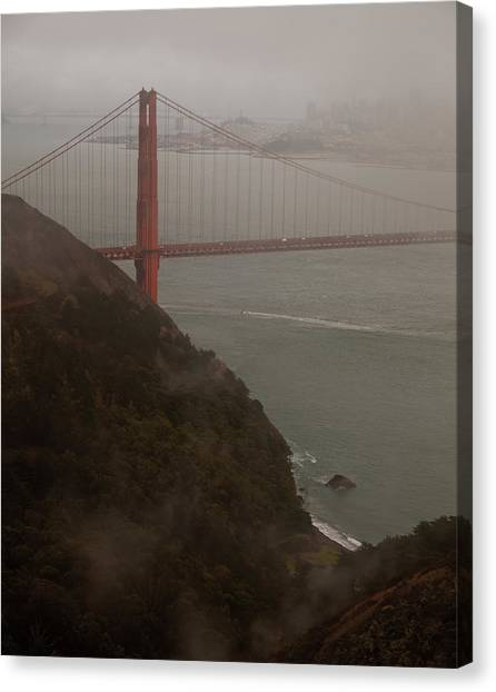 Golden Gate On A Grey Day Canvas Print by Patrick  Flynn