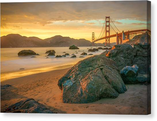 Bridges Canvas Print - Golden Gate Sunset by James Udall