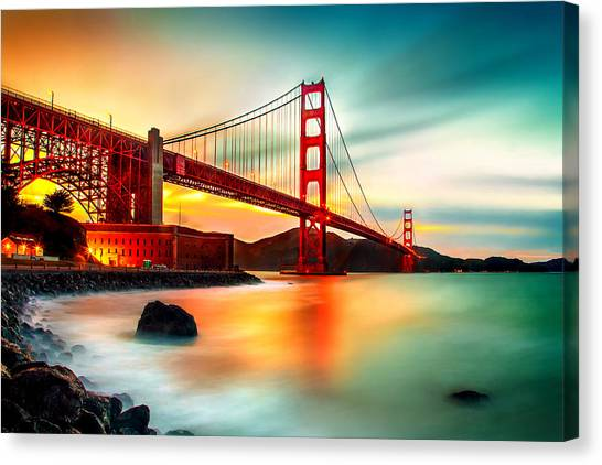 United States Of America Canvas Print - Golden Gateway by Az Jackson