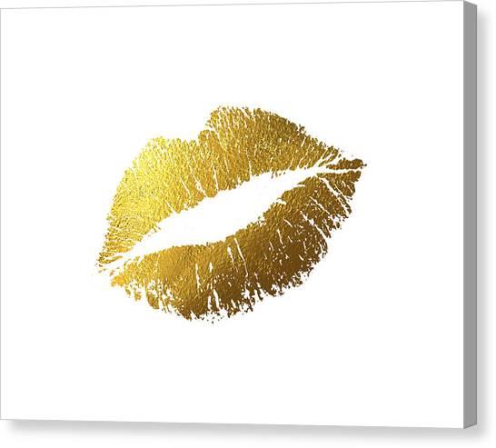 Gold Canvas Print - Gold Lips by BONB Creative