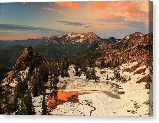 June Lake Canvas Print - Golden Glow At Silver Glance Lake. by Johnny Adolphson