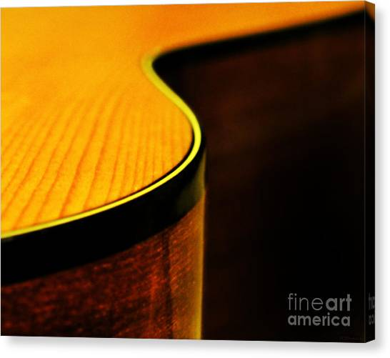 Classical Guitars Canvas Print - Golden Guitar Curve by Deborah Smith