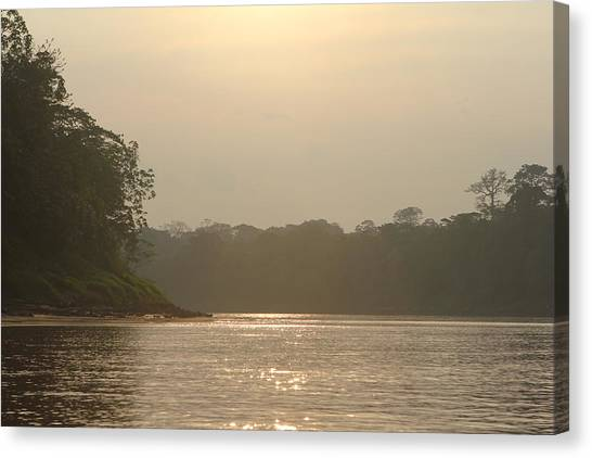 Golden Haze Covering The Amazon River Canvas Print