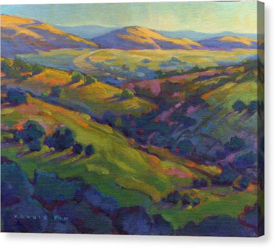 Canvas Print featuring the painting Golden Hills by Konnie Kim
